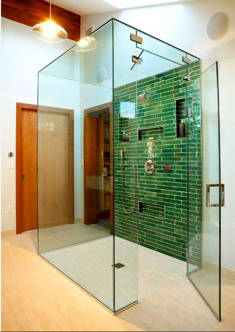 Modern Bathroom Interior Shower Cabin Design. Green shallow tile accent wall