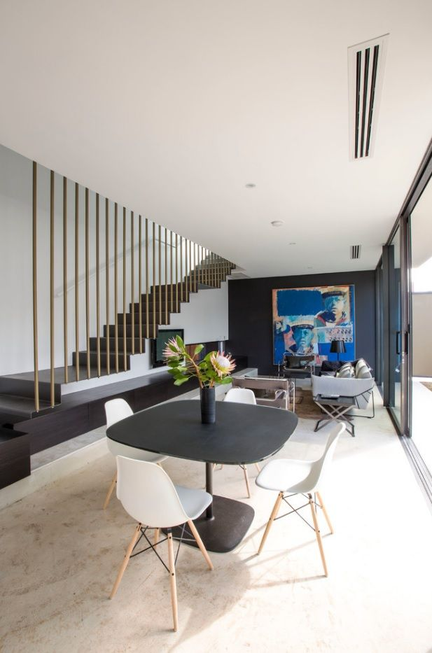 Gorgeous as if divisive ceiling which is transforming to segmented balustrade in modern style