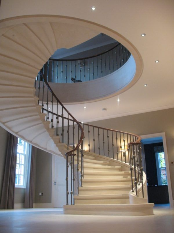Modern Private House's Balustrade Design. Spiral staircase in the center of Classic styled place