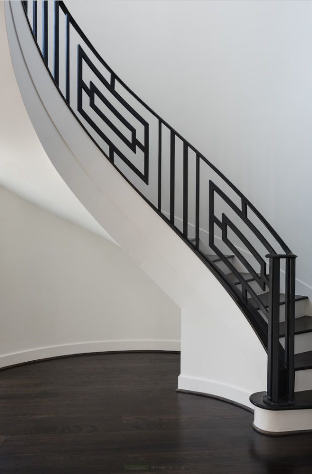 Modern Private House's Balustrade Design. Wrought iron figured handrail and screen