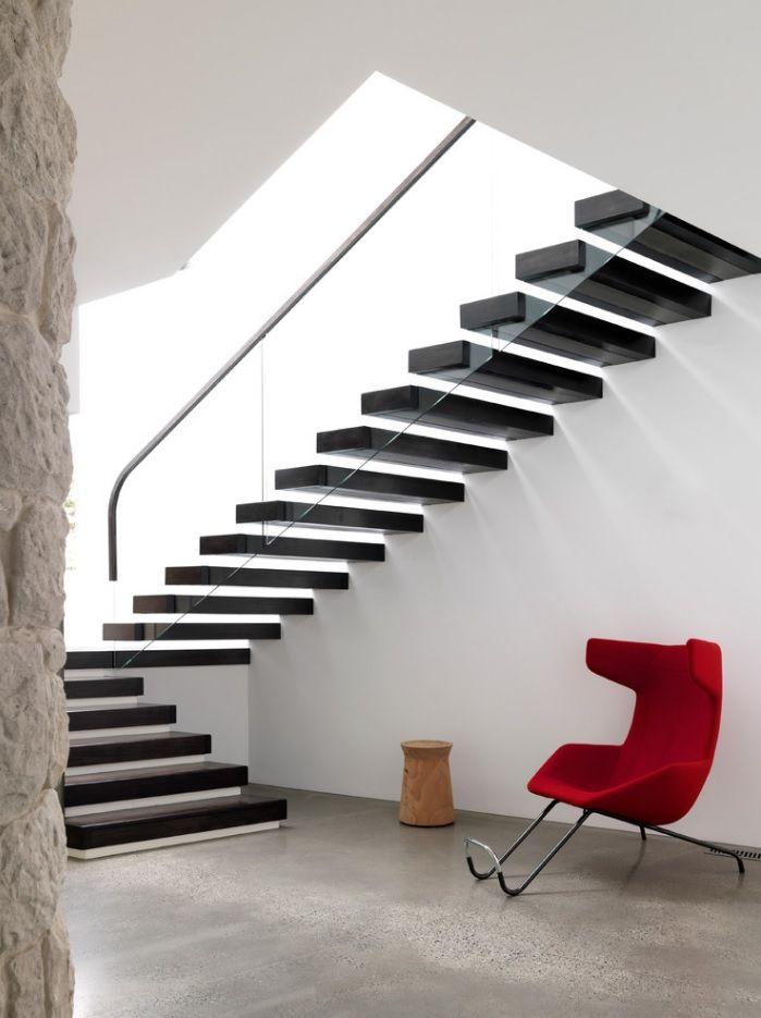 Modern Private House's Balustrade Design. Black airy handrail