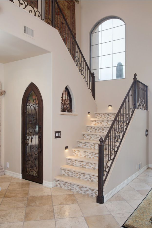 Modern Private House's Balustrade Design. Near East concept with wrought iron stair fence