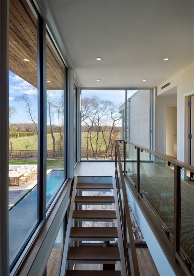 Modern Private House's Balustrade Design. Airy modern glass, steel and wood material mix for the suburb hi-tech interior