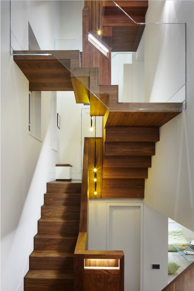 Modern Private House's Balustrade Design. Absolutely unusual concept of the segmented wooden stairs with glass fencing