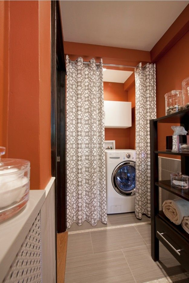 Laundry & Bathroom Combining Ideas with Photos. The curtain from droplets