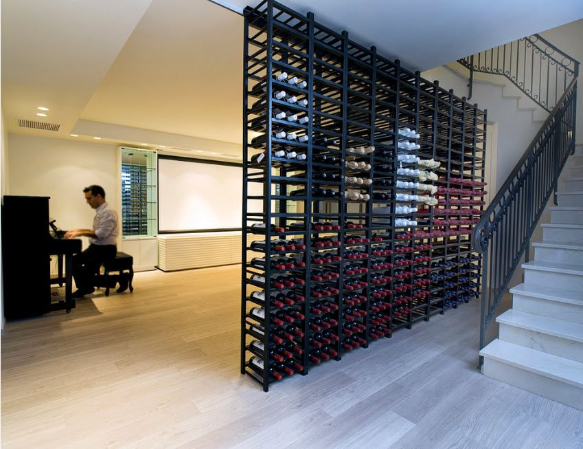Black metal wine rack from floor to the ceiling
