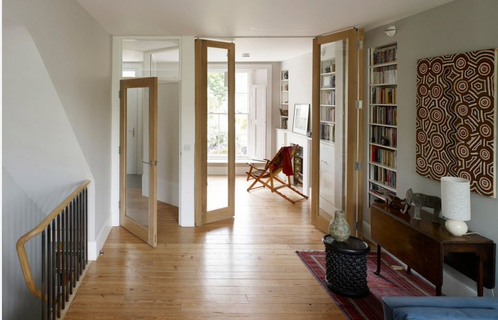 Mere swinging doors in the library but with large pieces of glass in the frame