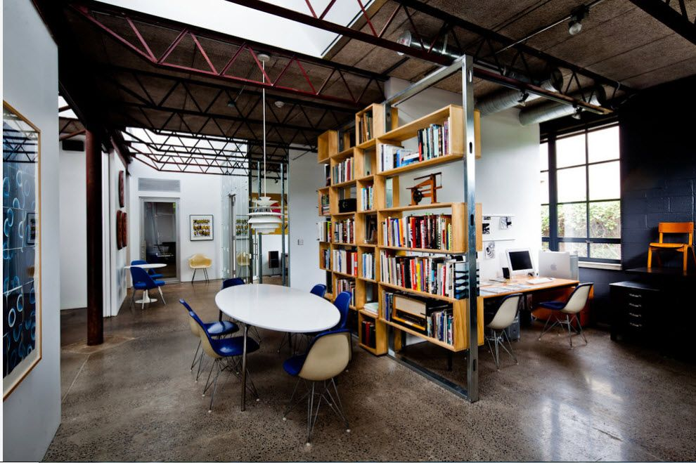Shelving as Zoning Element & Storage for Modern Interior. Loft style with open beams and as if alien structure with shelves