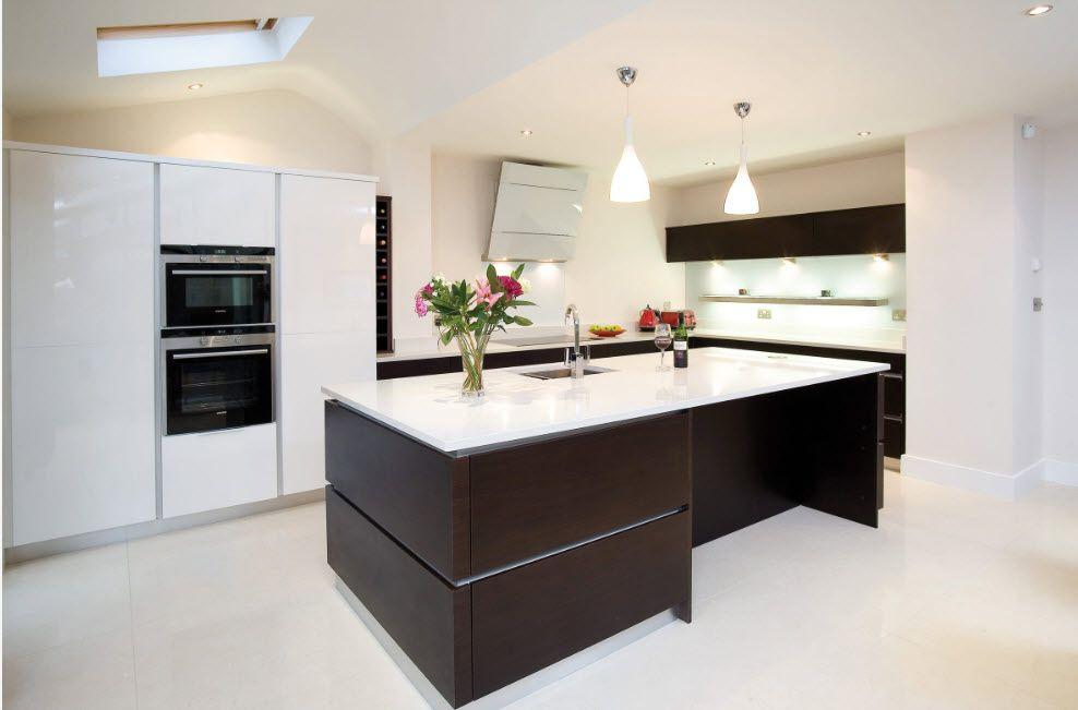 Wenge Color Modern Interior Design Ideas. Hi-tech kitchen