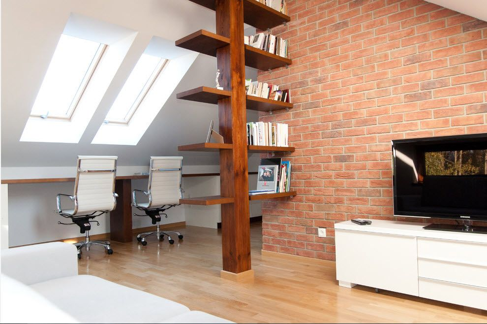 Shelving as Zoning Element & Storage for Modern Interior. Unusual design with the central rod
