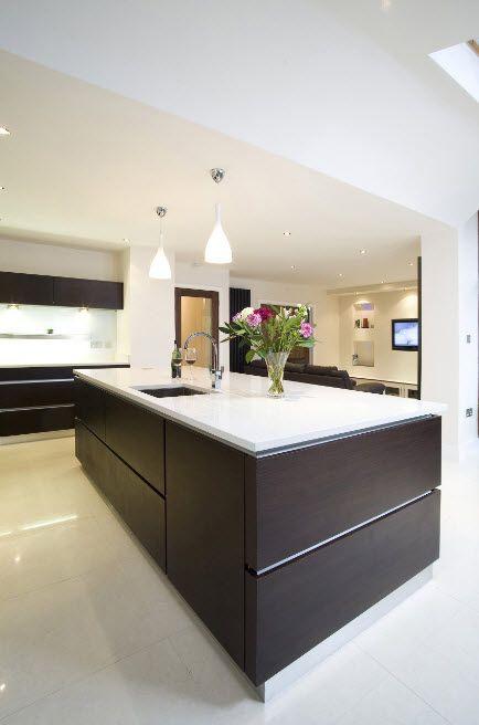 Wenge Color Modern Interior Design Ideas. Kitchen island with dark sides in the hi-tech interior
