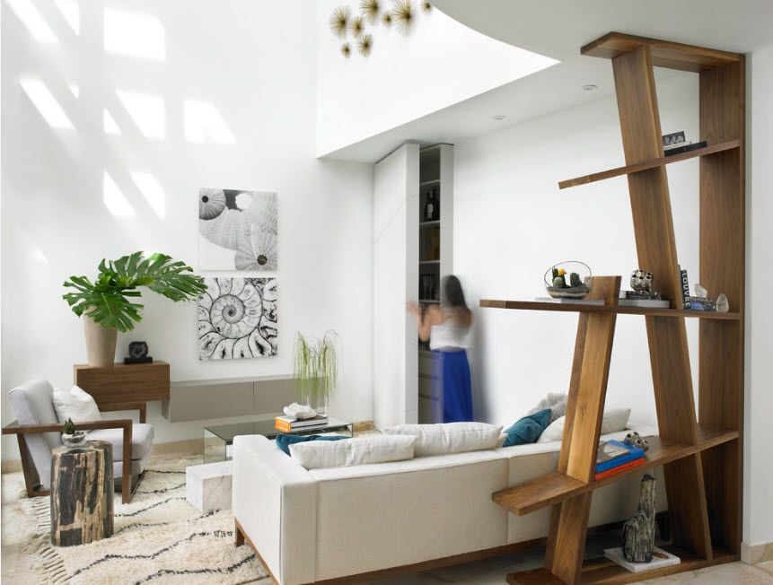 Shelving as Zoning Element & Storage for Modern Interior. Non-standard forms for Scandinavian styled space