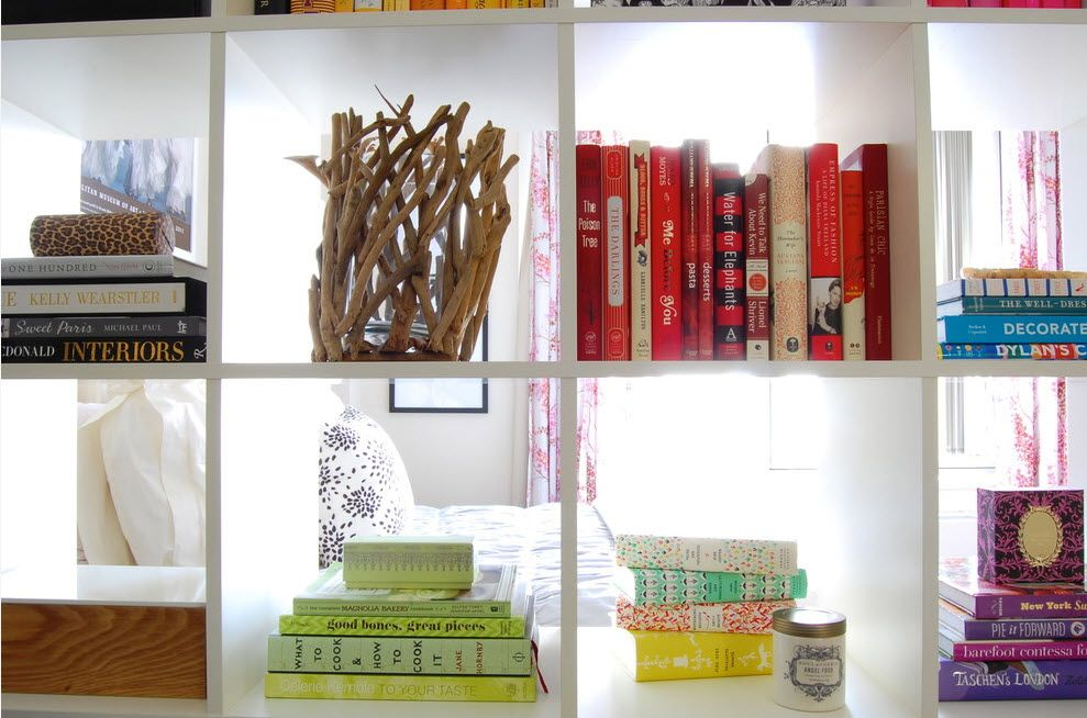 Shelving as Zoning Element & Storage for Modern Interior. Close-up view to the shelves with stuff