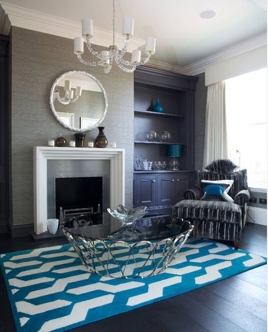 Azure and wenge color mixing creates unusual non-trivial interior atmosphere