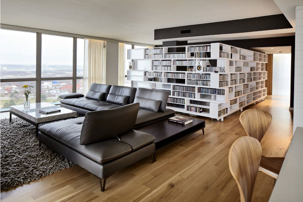 Shelving as Zoning Element & Storage for Modern Interior. Spectacular white hive of the shelving in studio apartment