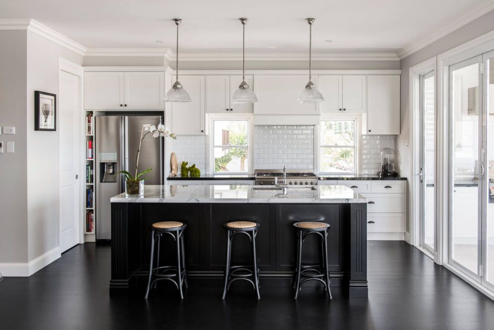 Wenge Color Modern Interior Design Ideas. Scandinavian notes in the Contemporary styled kitchen