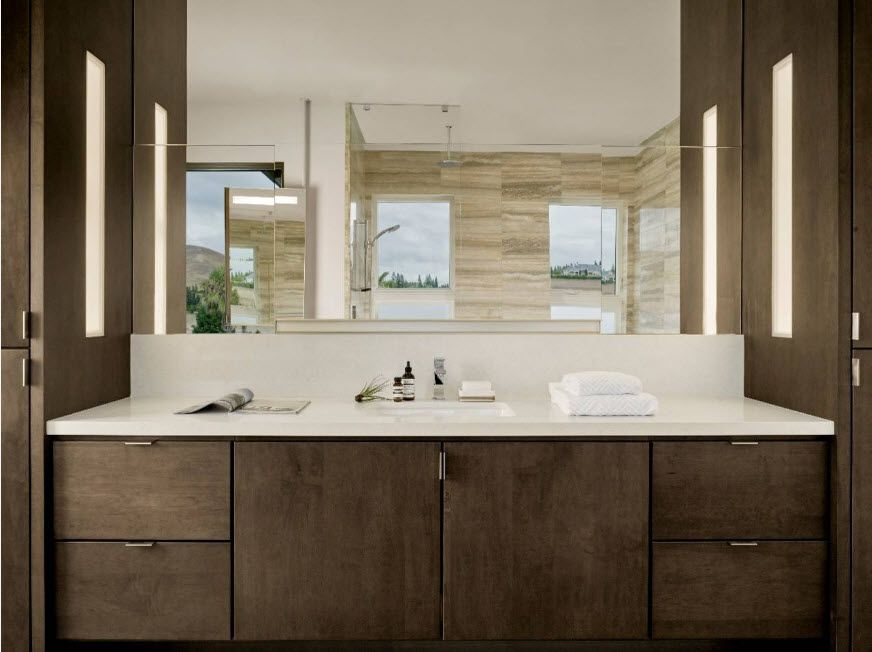 Wenge Color Modern Interior Design Ideas. Large mirror in the bathroom with raw treated wooden vanity