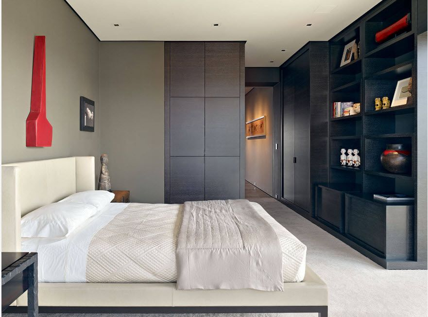 Wenge Color Modern Interior Design Ideas. Casual styled bedroom with dark furniture set in front of it