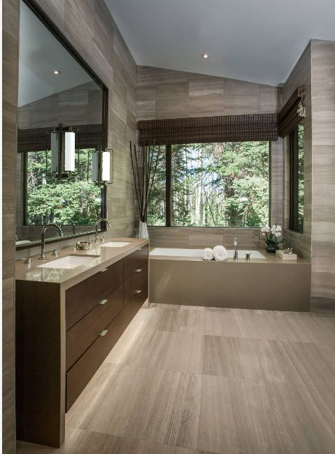Wenge Color Modern Interior Design Ideas. Beautiful mix of natural materials in the large bathroom with tiled floor and dark wooden furniture set