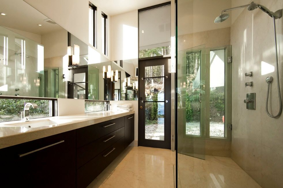 Wenge Color Modern Interior Design Ideas. Glass and wood in the richly styled bathroom