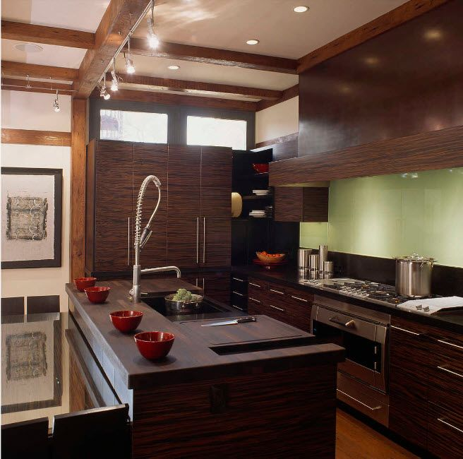 Wenge Color Modern Interior Design Ideas. All dark brown color palette of the kitchen