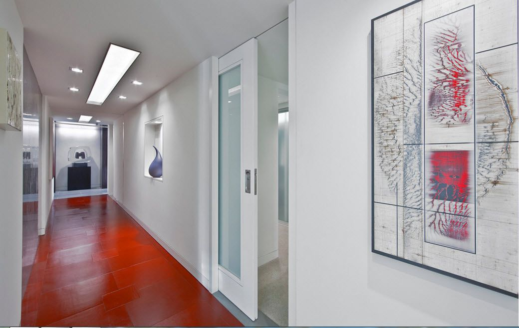 Interior Doors. Essential Element of Modern Apartment. Large hall and glass panel inlay