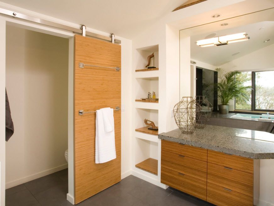 Interior Doors. Essential Element of Modern Apartment. Wooden panel and the vanity facade in same tone