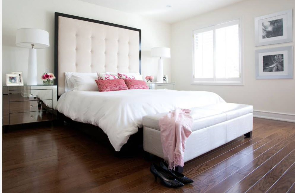 Wenge Color Modern Interior Design Ideas. Soft quilted headboard in the bedroom