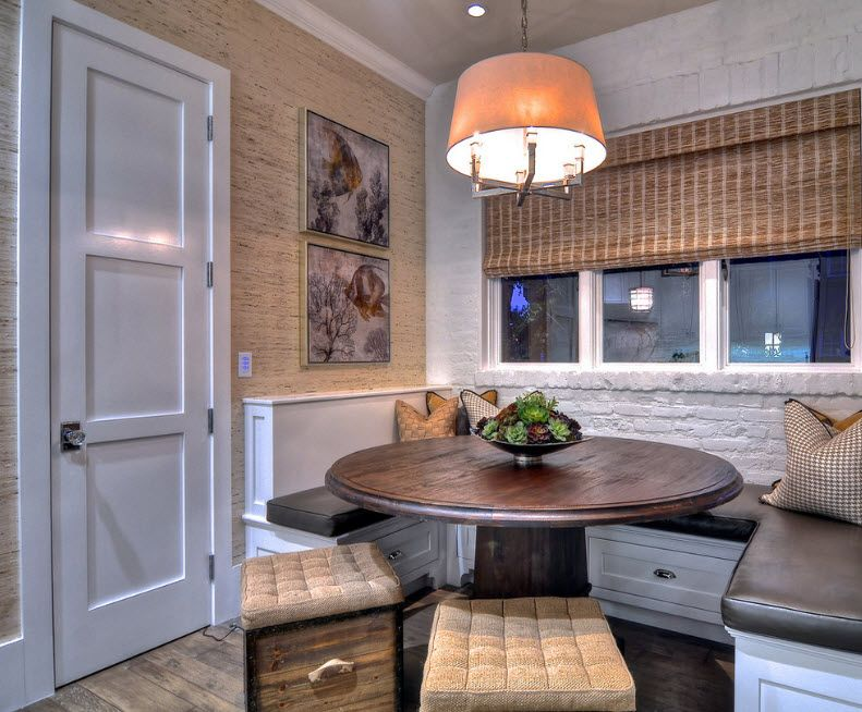 Interior Doors. Essential Element of Modern Apartment. Classic setting with round table and upholstered chandelier