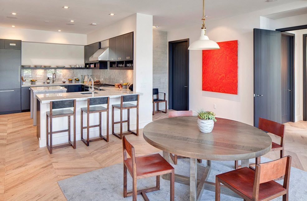 Studio aparmtent with open layout of the kitchen and dining zones and dark blue interior doors to another zones