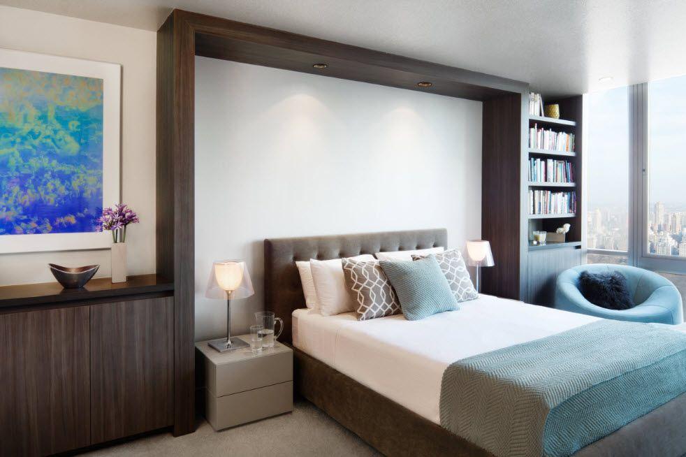 Wenge Color Modern Interior Design Ideas. Dark wooden frame instead of the headboard