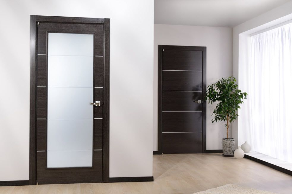 Interior Doors. Essential Element of Modern Apartment. Black modern MDF doors for the fresh pastel colored atmosphere
