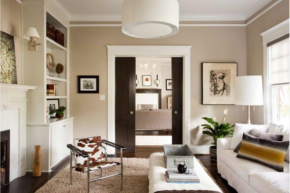 Interior Doors. Essential Element of Modern Apartment. Dark accentual hiding door for the Classic pastel colored interior