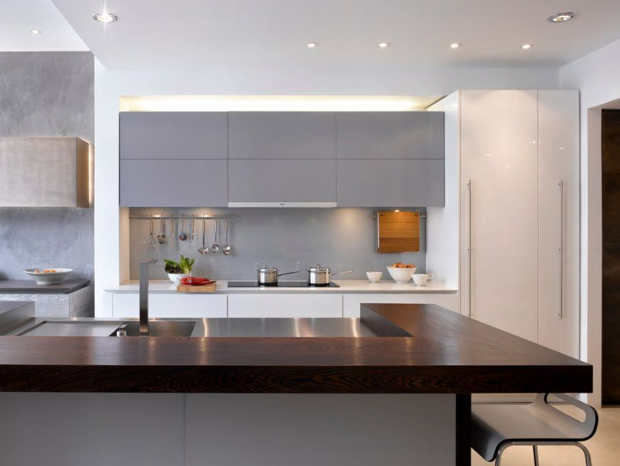 Two basic colors: Wenge and steel gray for the modern hi-tech kitchen interior