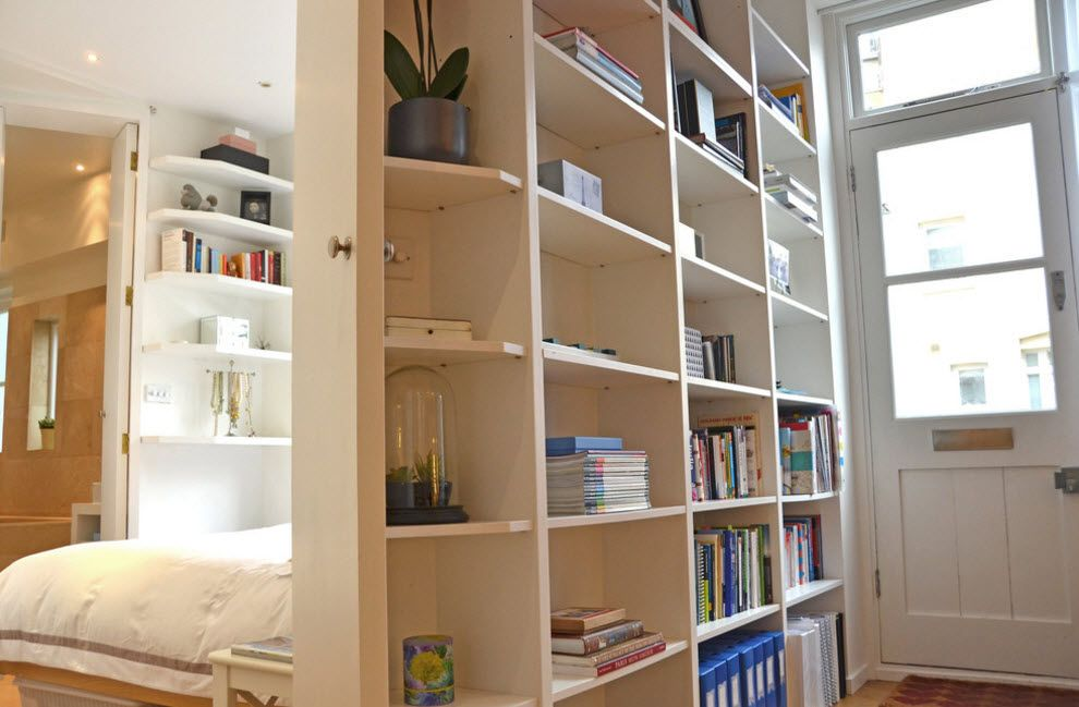 White matted shelving in the zoned in two pieces condo