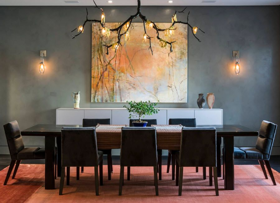 Dining room with laternative chandelier in the form of wood branch