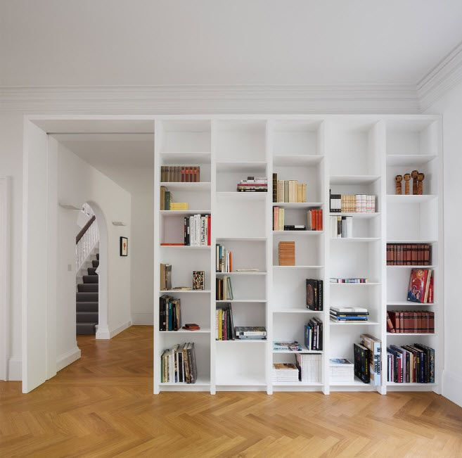 Shelving as Zoning Element & Storage for Modern Interior. Whole wall in necessary things