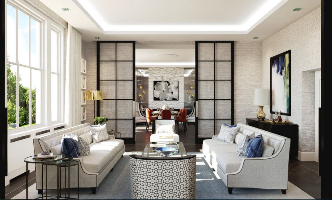 Interior Doors. Essential Element of Modern Apartment. Chinese lattice partitions