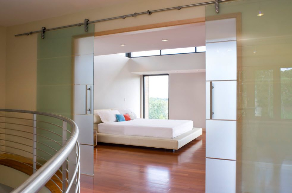 Interior Doors. Essential Element of Modern Apartment. Unique transparent sliding plastic panels constructions
