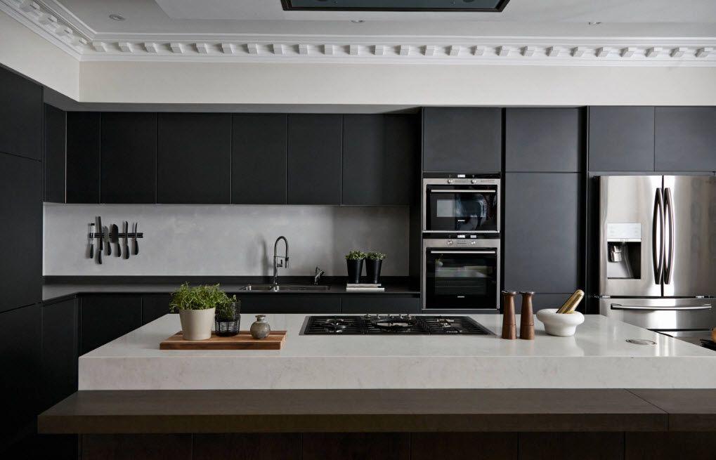 Wenge Color Modern Interior Design Ideas. Hi-tech kitchen with dark wooden facades