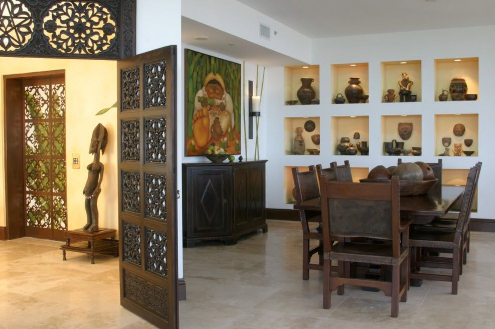 Large massive carved wooden doors for Classic styled dining room