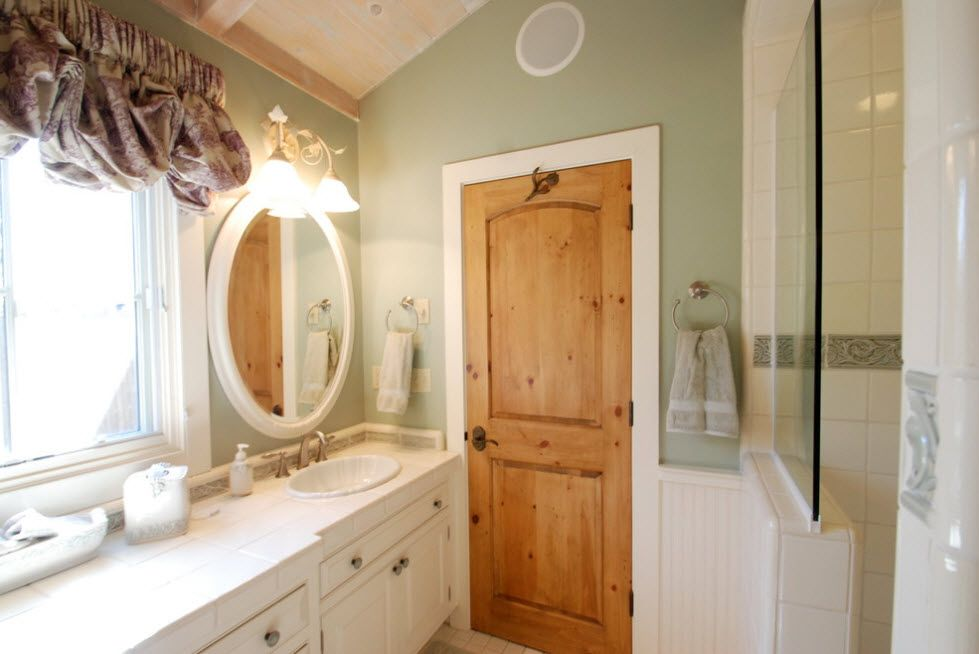 Raw ttreated wooden doors for vintage styled bathroom