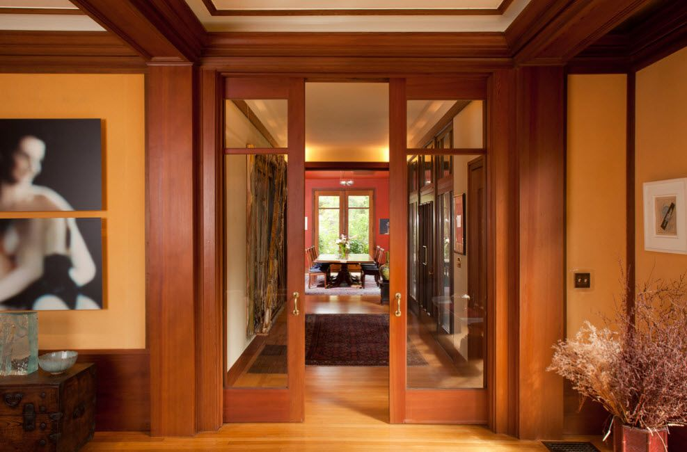 Interior Doors. Essential Element of Modern Apartment. Coupe sliding doors made of laquered wood