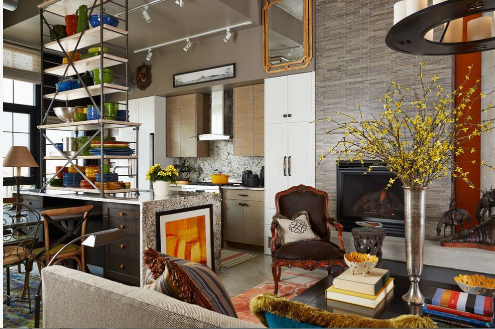 Modern styled space with open frame shelving of steel