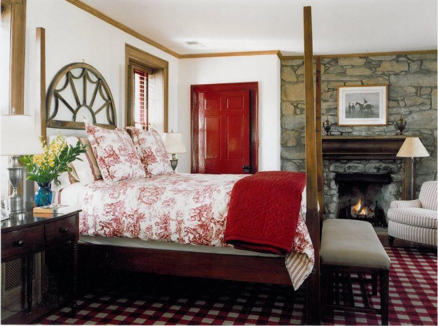 Red interior door in the master bedroom