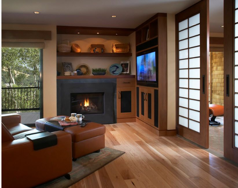 Modern living with fireplace and light wooden laminate looks finished with matted glass doors