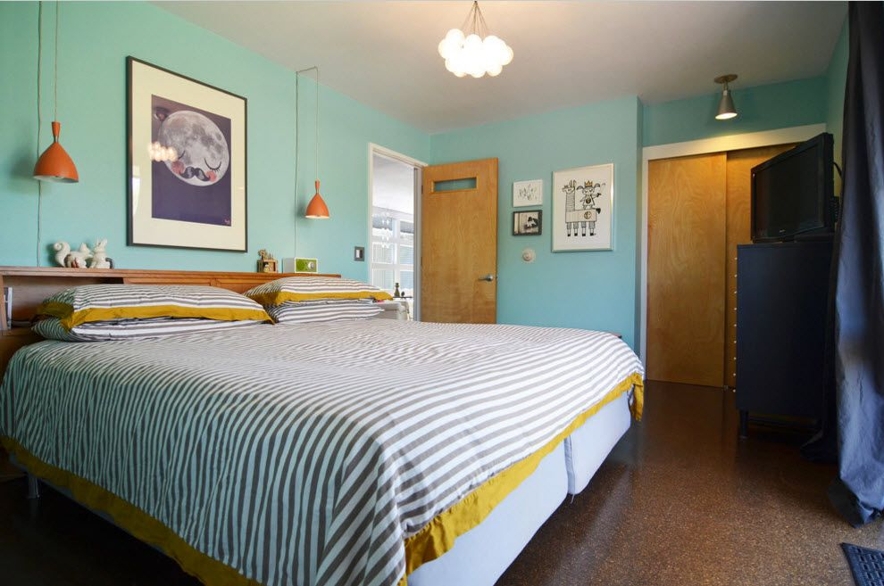 Tender colored kids' room with large bed