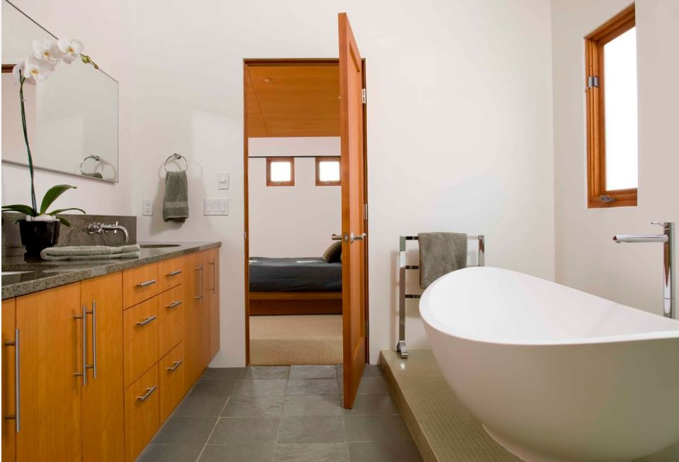 Essential element of modern apartment airy vanity and the neat light wooden