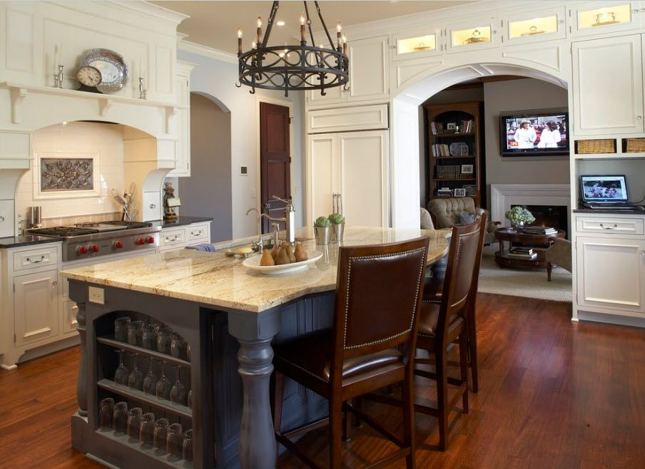 Carved wooden kitchen island