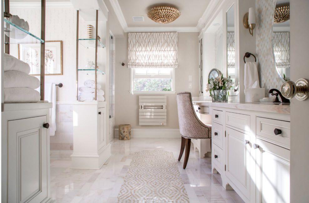 Blazing white budoir having lightweight shelving with glass shelves